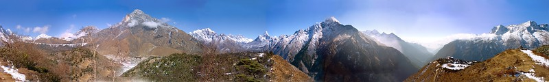 360° panorama on the trekking route to Shyangboche near Namche Bazar, Nepal This is not a very good image when enlarged since it was taken without a tripod and stitched from film scans.