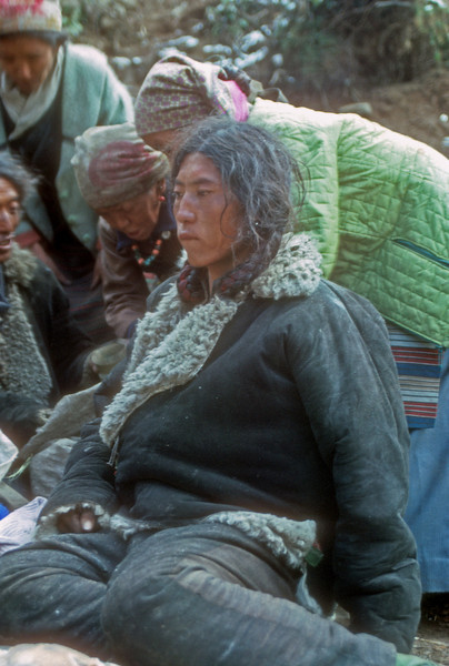 Tibetian Traders in Namche Bazar for Saturday Market, They have walked for 7 days to get here. They trade Yak fat, chinnese tennis shoesand tourqouise. Kumbu, Nepal