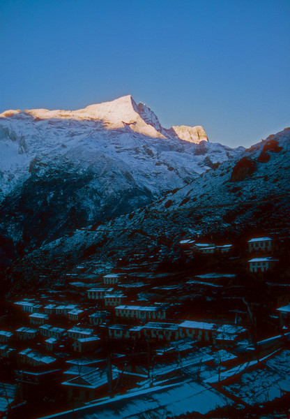 Daybreak at Namche Bazar, Kumbu, Nepal.<br /> This is the kick  off town for all Khumbu climbing expeditions. Supplies are carried in here from the nearest road. 13 days by porter.