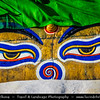 Asia - Nepal - Kathmandu Valley - Swayambhunath - Swoyambhunath - Ancient religious complex atop a hill consisting of a stupa, a variety of shrines and temples, some dating back to the Licchavi period - Buddha Eyes - Wisdom Eyes - Symbol of Nepal found throughout the country