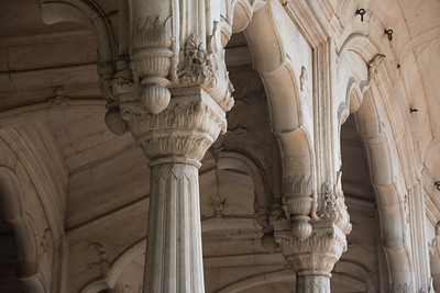 Column details and engrailed arches inside the Red Fort