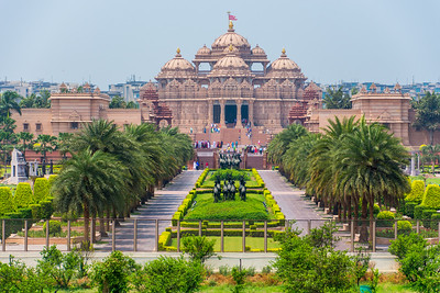 The only photos I have of the Swaminarayan Akshardham are from the outside. No cameras allowed inside. Beautiful inside, but highly overrated. This is a new structure, built with modern tools and methods, so for me, it wasn't nearly as impressive.