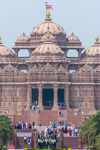 The Swaminarayan Akshardham from the outside. No cameras allowed inside. This strict policy resulted in a strip search because my money belt set off the extremely sensitive metal detectors.