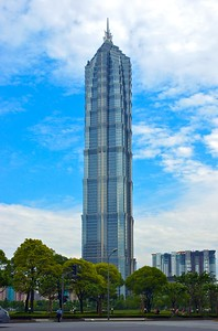 Built in 1999, the Jin Mao tower was the tallest building in China at the time. In 2007, it was surpassed by the Shanghai World Financial Center which is now next to this building.