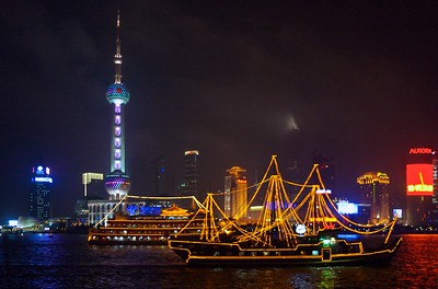 Booze cruises on the Huangpu River (黄浦江) in downtown Shanghai.
