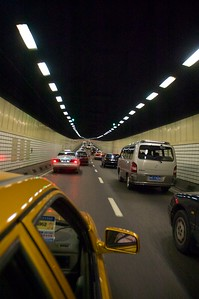 Traffic in the tunnel under the Huangpu River.