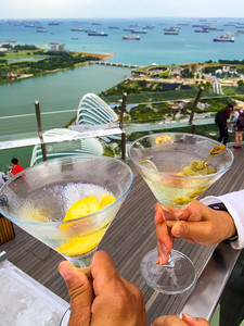 Martinis overlooking Marina Bay