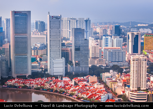 Singapore - Central Business & Financial District with High-rise Buildings & Skyscrapers - Area along Singapore River with commercial, residential, hotel and entertainment space - Aerial View