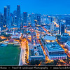Singapore - Marina Bay - Central Business & Financial District with High-rise Buildings & Skyscrapers - Area of commercial, residential, hotel and entertainment space - Aerial View - Twilight - Dusk - Blue Hour - Night