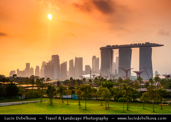 Singapore - New City Skyline - Sunset over Marina Bay Sands Hotel - Integrated resort fronting Marina Bay - Developed by Las Vegas Sands, it is billed as the world's most expensive standalone casino