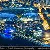 Singapore - Marina Bay - Esplanade – Theatres on the Bay - Waterside building located on six hectares of waterfront land alongside Marina Bay near the mouth of the Singapore River, purpose-built to be the centre for performing arts for the island nation of Singapore - Aerial View