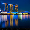 Singapore - Marina Bay - Marina Bay Sands Hotel - Integrated resort fronting Marina Bay - Developed by Las Vegas Sands, billed as the world's most expensive standalone casino - Twilight - Dusk - Blue Hour - Night