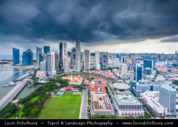 Singapore - Marina Bay - Central Business & Financial District with High-rise Buildings & Skyscrapers - Area of commercial, residential, hotel and entertainment space - Aerial View