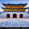 Asia - South Korea - Seoul - Gyeongbokgung Palace - Gyeongbok Palace - Main and largest royal palace of the Joseon dynasty built in 1395 - Gwanghwamun Gate - Triple-arched main entrance gate - Twilight - Blue Hour - Dusk - Night