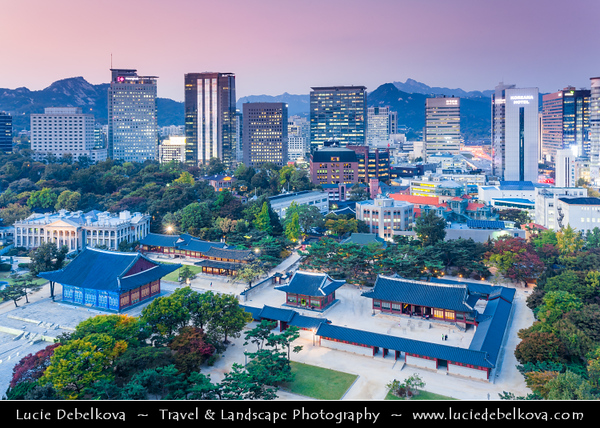 """Asia - South Korea - Seoul - Cityscape with Deoksugung Palace - Deoksu Palace - Gyeongun-gung - Walled compound of palaces inhabited by various Korean royalties until the colonial period around the turn of the 20th century - One of the """"Five Grand Palaces"""" built by the kings of the Joseon Dynasty (1392–1897)"""