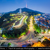 Asia - South Korea - Seoul - Cityscape with N Seoul Tower - YTN Seoul Tower- Namsan Tower - Communication and observation tower located on Namsan Mountain - At 236m, it marks the highest point in Seoul - Twilight - Blue Hour - Dusk - Night