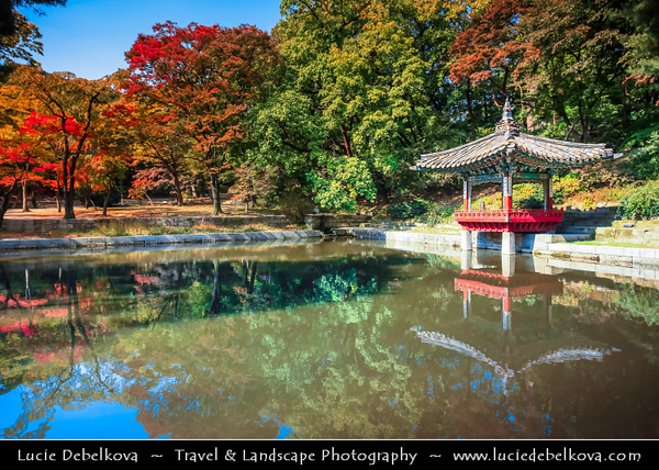 """Asia - South Korea - Seoul - Changdeokgung Palace - UNESCO World Heritage Site - Changdeok Palace - One of the """"Five Grand Palaces"""" built by the kings of the Joseon Dynasty (1392–1897) set within a large park in Jongno-gu - Aelyeonji Pavilion by small pond - Autumn/ Fall Time"""