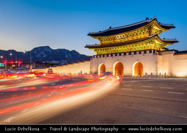 Asia - South Korea - Seoul - Gyeongbokgung Palace - Gyeongbok Palace - Main and largest royal palace of the Joseon dynasty built in 1395 - Gwanghwamun Gate - Triple-arched main entrance gate - Twilight - Blue Hour - Dusk - Night