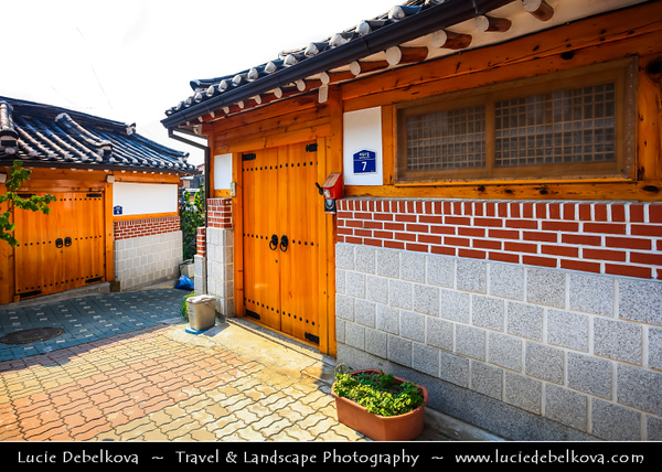 Asia - South Korea - Seoul - Bukchon Hanok Village - Korean traditional village composed of lots of alleys, hanok preserved to show a 600-year-old urban environment