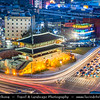Asia - South Korea - Seoul - Heunginjimun - Dongdaemun - Prominent landmark & one of the Eight Gates in the Fortress Wall which surrounded the city in the Joseon dynasty - Twilight - Blue Hour - Dusk - Night