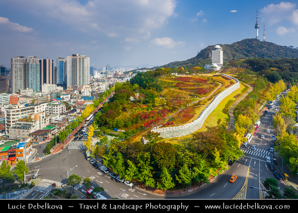 Asia - South Korea - Seoul - Cityscape with N Seoul Tower - YTN Seoul Tower- Namsan Tower - Communication and observation tower located on Namsan Mountain - At 236m, it marks the highest point in Seoul