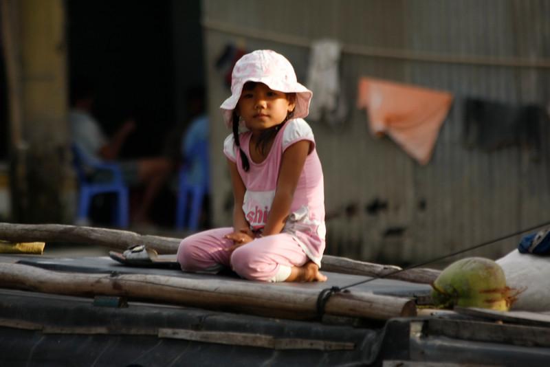 Banana boat girl, Mekong River, Vietnam