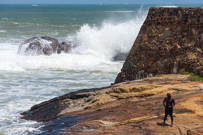 Fishing from the walls of Fort Galle