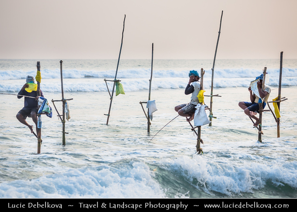 Asia - Sri Lanka - Ceylon - The Pearl of the Indian Ocean - Emerald Isle - Southern Province - Weligama - Fishing town on southern coast along the Indian Ocean - Stilt Fisherman - Traditinal and unique way of fishing - native craft