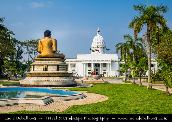 Asia - Sri Lanka - Ceylon - The Pearl of the Indian Ocean - Emerald Isle - Colombo - Colombo City Town Hall located in Viharamahadevi Park, the oldest and largest park In The Heart Of The City Of Colombo