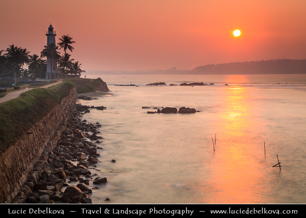Asia - Sri Lanka - Ceylon - The Pearl of the Indian Ocean - Emerald Isle - Southern Province - Galle - UNESCO World Heritage Site - Fortified city built by Europeans in South and South-East Asia, showing the interaction between European architectural styles and South Asian traditions - Galle Lighthouse - Pointe de Galle Light at Sunrise