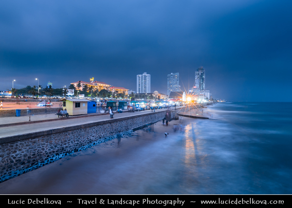 Asia - Sri Lanka - Ceylon - The Pearl of the Indian Ocean - Emerald Isle - Colombo - Galle Face Beach - Capital city coastline of Indian Ocean