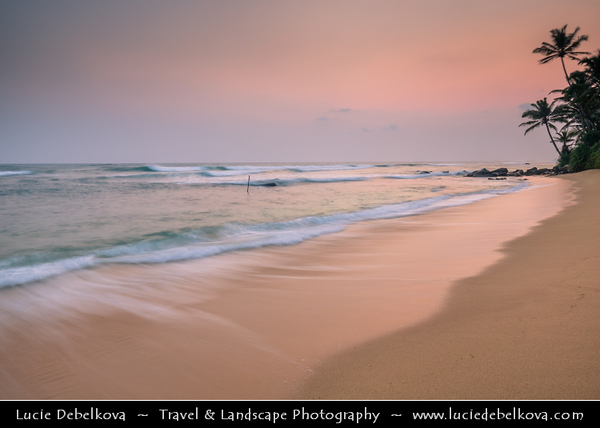 Asia - Sri Lanka - Ceylon - The Pearl of the Indian Ocean - Emerald Isle - Southern Province - Weligama - Fishing town on southern coast along the Indian Ocean - Soft sand beach with palm trees at Sunset