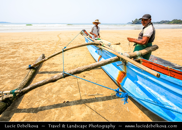 Asia - Sri Lanka - Ceylon - The Pearl of the Indian Ocean - Emerald Isle - Southern Province - Weligama - Fishing town on southern coast along the Indian Ocean - Traditional fishing boat
