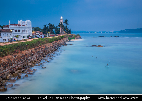 Asia - Sri Lanka - Ceylon - The Pearl of the Indian Ocean - Emerald Isle - Southern Province - Galle - UNESCO World Heritage Site - Fortified city built by Europeans in South and South-East Asia, showing the interaction between European architectural styles and South Asian traditions - Galle Lighthouse - Pointe de Galle Light at Dusk - Twilight - Blue Hour - Night