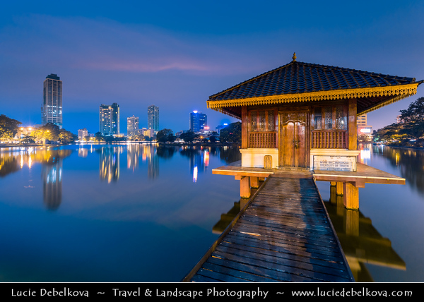 Asia - Sri Lanka - Ceylon - The Pearl of the Indian Ocean - Emerald Isle - Colombo - Seema Malaka - Buddhist temple on Beira Lake - One of the great land marks of Colombo