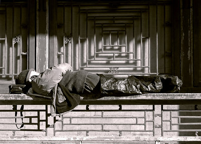 Sleeping on the job Summer Palace, Beijing, China