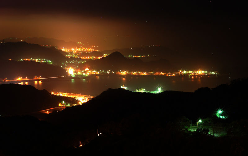 The night view from our hotel in  Jio-Fan