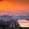 Asia - Taiwan - Republic of China (ROC) - Taipei City - 臺北市 - 台北市 - Capital City - Early Morning over Modern Skyline & Tamsui River & Tachih Bridge