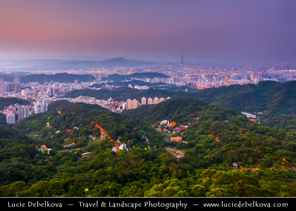 Asia - Taiwan - Republic of China (ROC) - Taipei City - 臺北市 - 台北市 - Capital City - Early Morning over Modern Skyline from Buddhist Temple in the nearby Hills