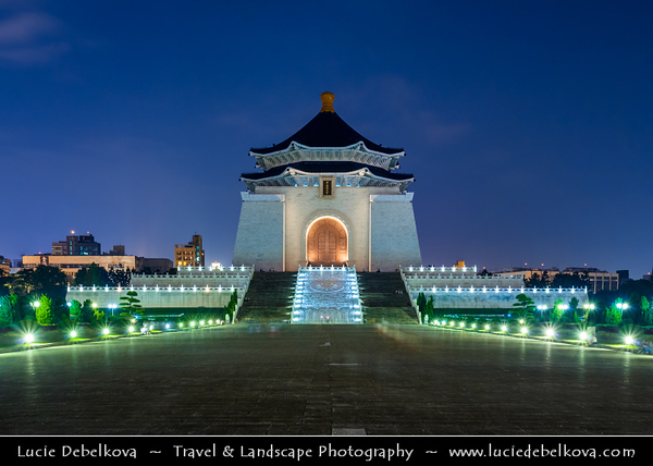 Asia - Taiwan - Republic of China (ROC) - Taipei City - 臺北市 - 台北市 - Capital City - Memorial Hall Square with the National Concert Hall, the National Theater & Chiang Kai-shek Memorial Hall at Twilight - Blue Hour - Dusk