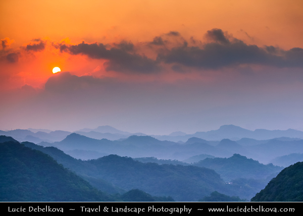 Asia - Taiwan - Republic of China (ROC) - Taipei City - 臺北市 - 台北市 - Capital City - Early Morning and Sunrise from Buddhist Temple in the nearby Hills