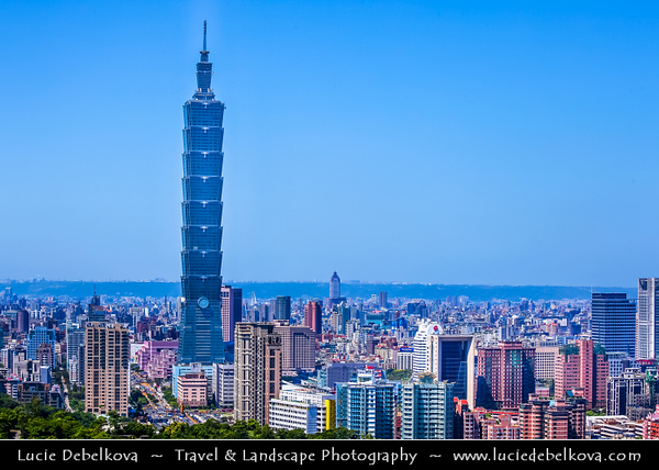Asia - Taiwan - Republic of China (ROC) - Taipei City - 臺北市 - 台北市 - Capital City - Modern Skyline &  Taipei 101 - Taipei World Financial Center - Landmark skyscraper located in Xinyi District