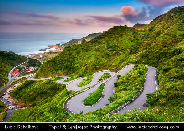 Asia - Taiwan - Republic of China (ROC) - Curvy & Steep Road to Jioufen - Jiufen - Chiufen - Mountain town in the Rueifang Township of Taipei County near Keelung