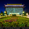 Asia - Taiwan - Republic of China (ROC) - Taipei City - 臺北市 - 台北市 - Capital City - Grand Hotel Taipei - Landmakr building with elements of classic Chinese architecture - Lit at night