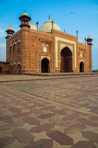 One of two symmetrical buildings that flank the Taj Mahal. This one is called the mosque.