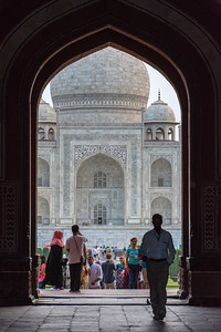 As we passed through the entrance, we begin to see the Taj Mahal shrink in the archway. It's a neat optical illusion and one of many.