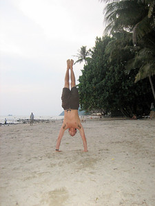 Tobias doing *another* handstand. He is getting very good at them now he can practise daily!