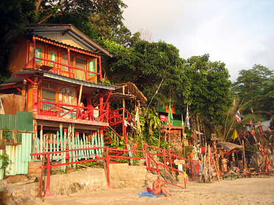 Some of the bungalows on white sands beach are very colourful!