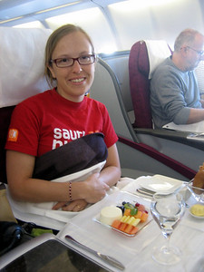 Breakfast in bed in business class