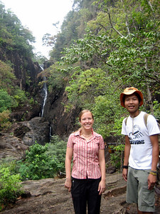 "Steph with our jungle guide ""Tee"" at Khlong Phlu waterfall on Tobias' birthday."